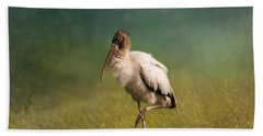Wood Stork - Balancing Beach Sheet by Kim Hojnacki