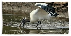 Wood Stork Fishing Beach Towel by Al Powell Photography USA