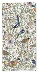 Woodland Edge Birds Beach Sheet by Jacqueline Colley