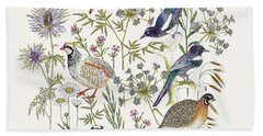 Woodland Edge Birds Placement Beach Towel by Jacqueline Colley