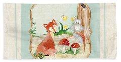 Woodland Fairy Tale - Fox Owl Mushroom Forest Beach Sheet by Audrey Jeanne Roberts