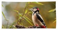 Woodpecker 3 Beach Towel by Heike Hultsch