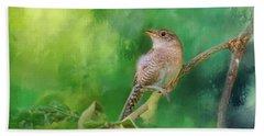 Wren In The Garden Bird Art Beach Towel by Jai Johnson