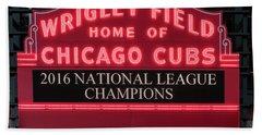 Wrigley Field Marquee Cubs Champs 2016 Front Beach Sheet by Steve Gadomski