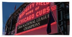 Wrigley Field Marquee Cubs National League Champs 2016 Beach Towel by Steve Gadomski