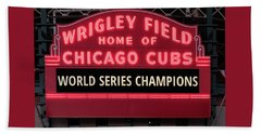 Wrigley Field Marquee Cubs World Series Champs 2016 Front Beach Towel by Steve Gadomski