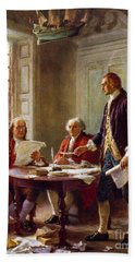 Writing The Declaration Of Independence, 1776, Beach Sheet by Leon Gerome Ferris