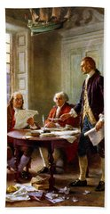 Writing The Declaration Of Independence Beach Sheet by War Is Hell Store