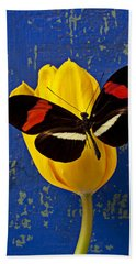Yellow Tulip With Orange And Black Butterfly Beach Sheet by Garry Gay