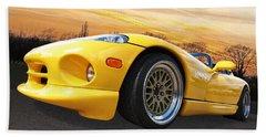 Yellow Viper Rt10 Beach Sheet by Gill Billington