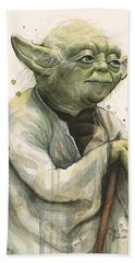 Yoda Portrait Beach Towel by Olga Shvartsur