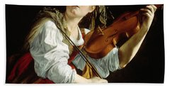 Young Woman With A Violin Beach Sheet by Orazio Gentileschi