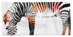 Zebra Black White And Red Orange By Sharon Cummings  Beach Sheet by Sharon Cummings