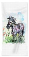 Zebra Painting Watercolor Sketch Beach Towel by Olga Shvartsur