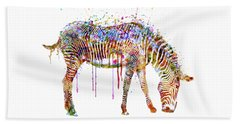 Zebra Watercolor Painting Beach Towel by Marian Voicu
