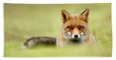 Zen Fox Series - Zen Fox In A Sea Of Green Beach Towel by Roeselien Raimond