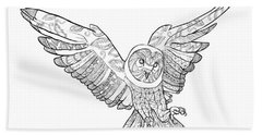 Zentangle Owl In Flight Beach Towel by Cindy Elsharouni