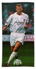 Zidane At Real Madrid Painting Beach Sheet by Paul Meijering