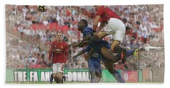 Zlatan Ibrahimovic Header Beach Towel by Don Kuing