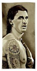 Zlatan Ibrahimovic Sepia Beach Towel by Paul Meijering