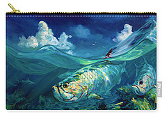 A Place I'd Rather Be - Caribbean Tarpon Fish Fly Fishing Painting Carry-all Pouch by Savlen Art