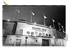 0879 Soldier Field Black And White Carry-all Pouch by Steve Sturgill