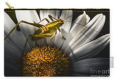 Australian Grasshopper On Flowers. Spring Concept Carry-all Pouch by Jorgo Photography - Wall Art Gallery
