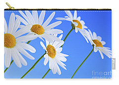 Daisy Flowers On Blue Background Carry-all Pouch by Elena Elisseeva