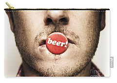 Face Of A Man With Beer Badge Carry-all Pouch by Jorgo Photography - Wall Art Gallery