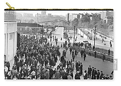 Fans Leaving Yankee Stadium. Carry-all Pouch by Underwood Archives