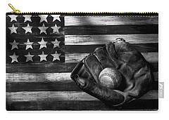 Folk Art American Flag And Baseball Mitt Black And White Carry-all Pouch by Garry Gay