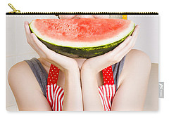 Funny Woman With Juicy Fruit Smile Carry-all Pouch by Jorgo Photography - Wall Art Gallery