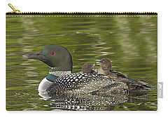 Loon Parent With Two Chicks Carry-all Pouch by John Vose