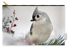 Tufted Titmouse Square Carry-all Pouch by Christina Rollo