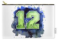 12th Man Seahawks Art Seattle Go Hawks Carry-all Pouch by Olga Shvartsur