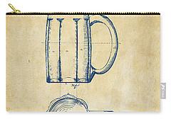1876 Beer Mug Patent Artwork - Vintage Carry-all Pouch by Nikki Marie Smith