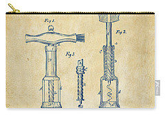 1876 Wine Corkscrews Patent Artwork - Vintage Carry-all Pouch by Nikki Marie Smith