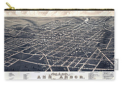 1880 Birds Eye Map Of Ann Arbor Carry-all Pouch by Stephen Stookey