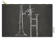 1902 Slide Trombone Patent Artwork - Gray Carry-all Pouch by Nikki Marie Smith