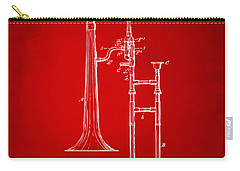 1902 Slide Trombone Patent Artwork Red Carry-all Pouch by Nikki Marie Smith