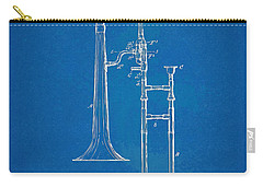 1902 Slide Trombone Patent Blueprint Carry-all Pouch by Nikki Marie Smith