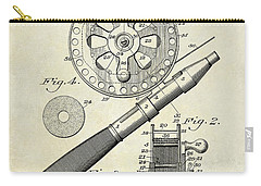 1906 Fishing Reel Patent Drawing Carry-all Pouch by Jon Neidert