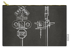 1936 Rail Road Crossing Sign Patent Artwork - Gray Carry-all Pouch by Nikki Marie Smith