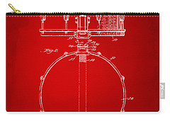 1939 Snare Drum Patent Red Carry-all Pouch by Nikki Marie Smith