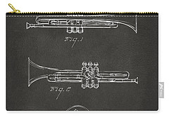1940 Trumpet Patent Artwork - Gray Carry-all Pouch by Nikki Marie Smith