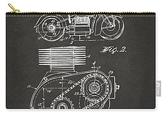 1941 Indian Motorcycle Patent Artwork - Gray Carry-all Pouch by Nikki Marie Smith