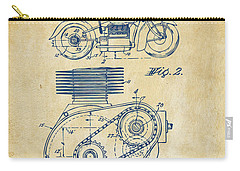 1941 Indian Motorcycle Patent Artwork - Vintage Carry-all Pouch by Nikki Marie Smith