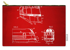 1941 Zephyr Train Patent Red Carry-all Pouch by Nikki Marie Smith