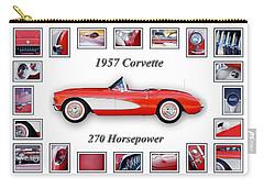 1957 Chevrolet Corvette Art Carry-all Pouch by Jill Reger