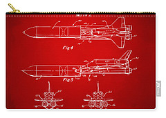 1975 Space Vehicle Patent - Red Carry-all Pouch by Nikki Marie Smith